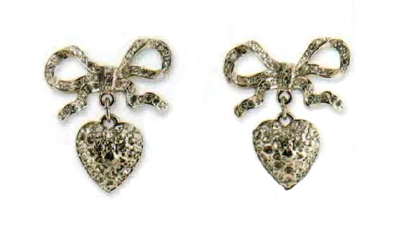 Bow and heart Earrings. silver metal, black and transparent rhinestone. 1980s 3.75 cm. £ 65-70 REL