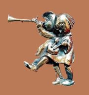 Boy Blowing Horn Girl with Drum Figural brooch from the 'Hummel' collection, created in the 1940s. Based on drawings by the famous artist - nuns Maria Hummel