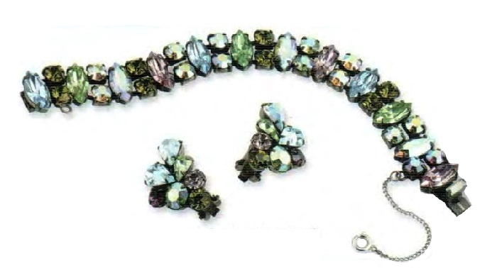 Bracelet and earrings. Aquamarine, lime green and amethyst rhinestone. 1950s brooch 16.5 cm, earrings 3 cm £ 140-160 CRIS