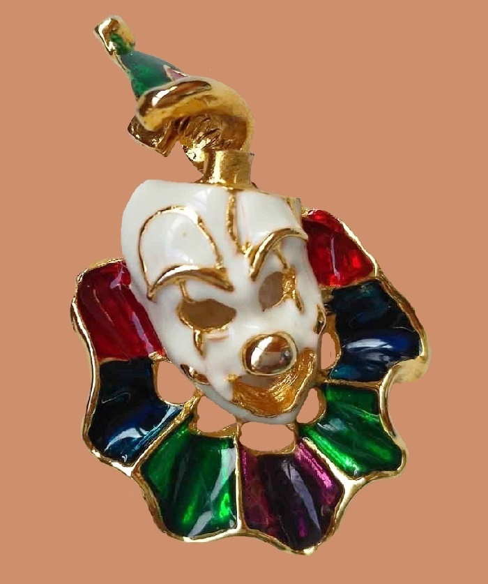 Bright enameled clown face brooch, American vintage. 5 cm