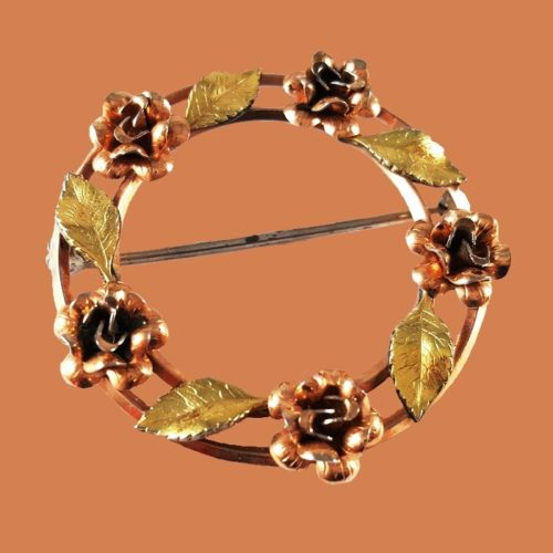 Brooch Rose (wreath), 14K gold plated, 1970