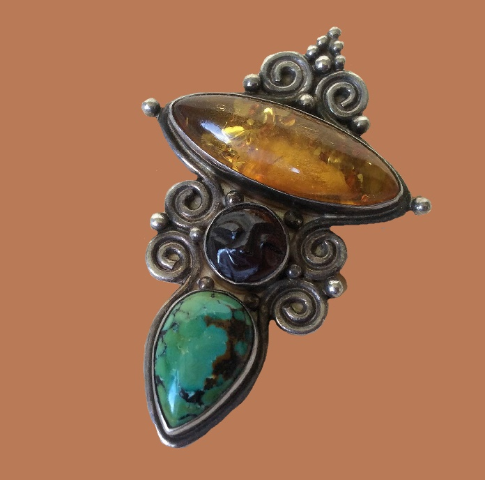 Brooch pendant. 925 Sterling Silver, Natural Amber, Natural Turquoise. 5.5 cm