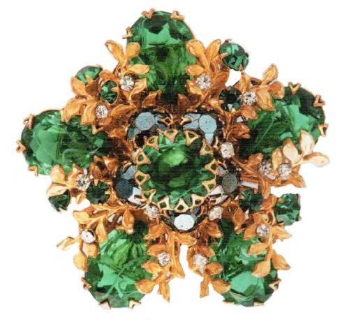 Brooch. Metal, gilding, large emerald transparent crystals of rock crystal. 1950's. 5.75 cm. £ 80-85 ROX