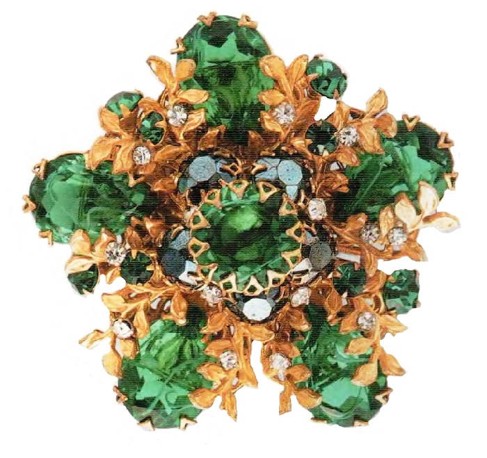 Brooch. Metal, gilding, large emerald transparent crystals of rock crystal. 1950's. 5.75 cm. £ 80-85 ROX