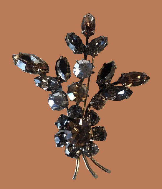 Brown and white rhinestones floral brooch