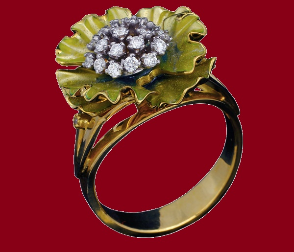 Buttercup ring. Gold, silver, diamond and enamel