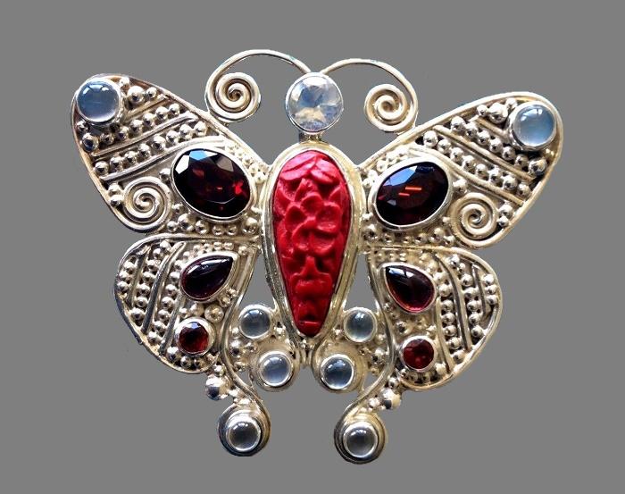 Butterfly Carved Cinnabar Garnet Pendant Pin