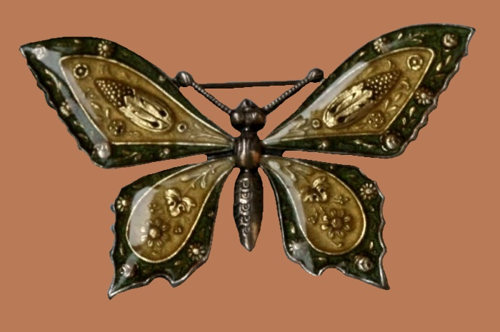 Butterfly brooch. Materials - pewter, enamel, Silvering