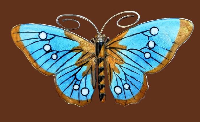 Butterfly brooch. Sterling silver, enamel
