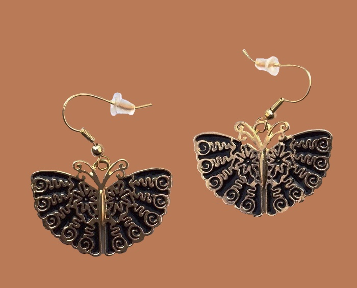 Butterfly earrings, black enamel and gold tone metal