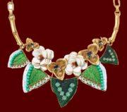 Camellia Statement necklace. Vintage gold finish, enamel