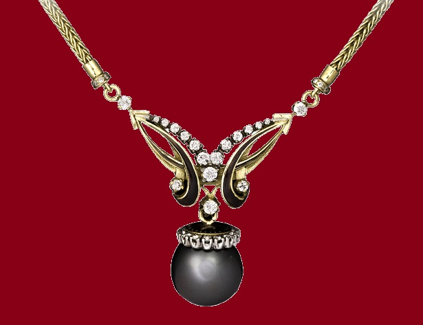 Caprice Necklace with coils of dark enamel and diamonds, topped with a large black pearl