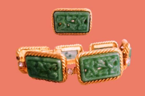 Carved faux jade bracelet and ring