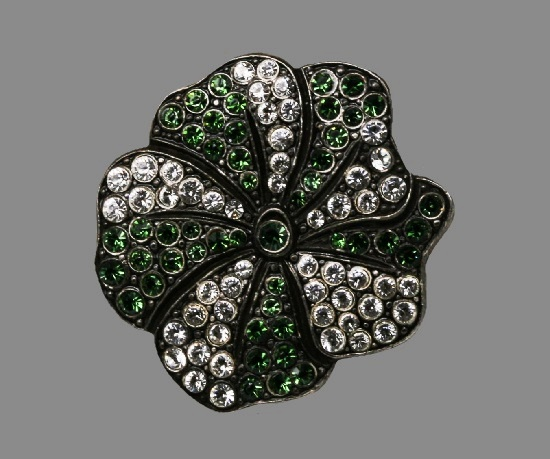 Flower brooch. Blackened metal, rhinestones. 3.5 cm. 1990s