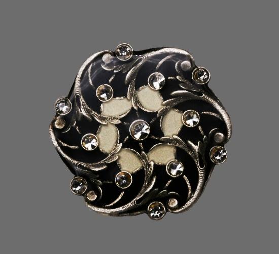 floral ornament brooch. Metal alloy, enamel, rhinestones. 4 cm. 1990s