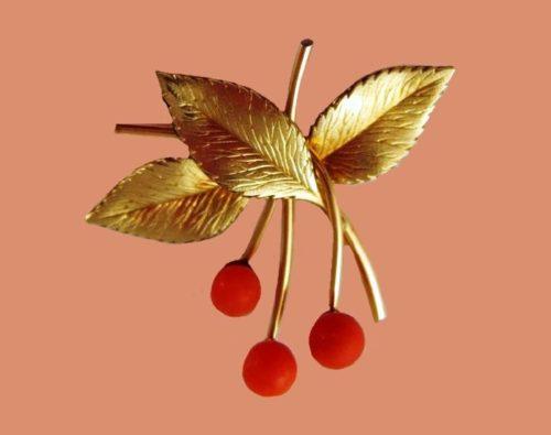 Cherry twig brooch