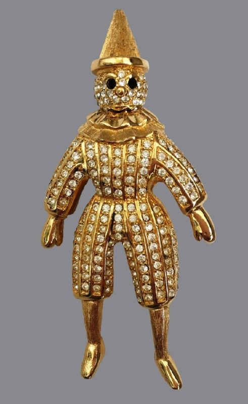 Christian Dior clown brooch (Pierrot). 1960s. Gilded metal, Swarovski crystals. 7.5 cm