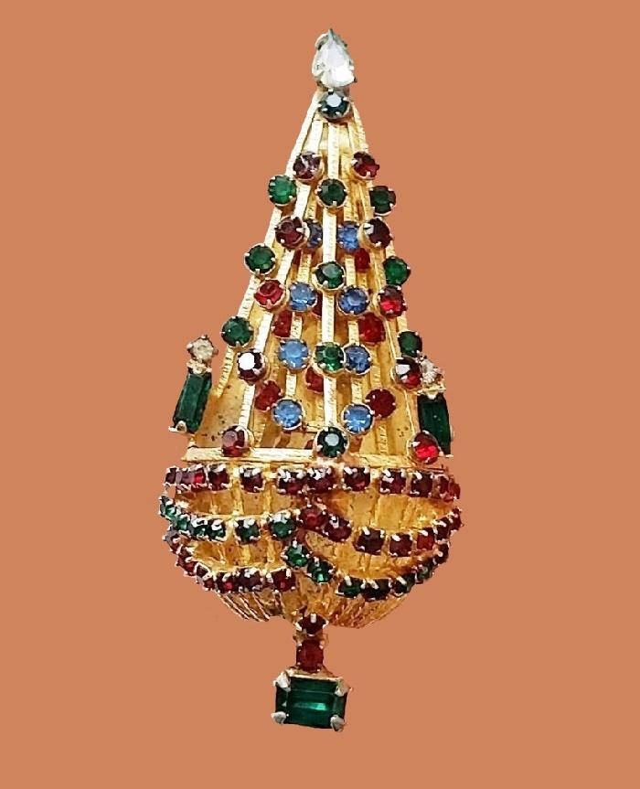 Christmas tree vintage brooch, 1950s