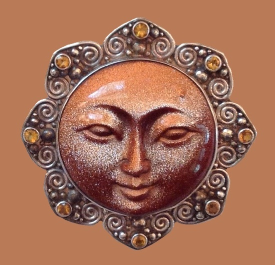 Citrine Gem, sterling silver pendant