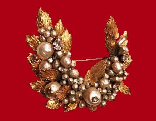 Cluster Leaf brooch, signed DeMario NY. Pearl, Rhinestone