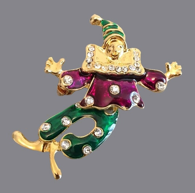 Collectible brooch with enamel in the form of a clown