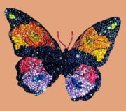 Colorful butterfly brooch. Sapphires, fire opals, rubies, amethysts, garnets, diamonds, silver and gold