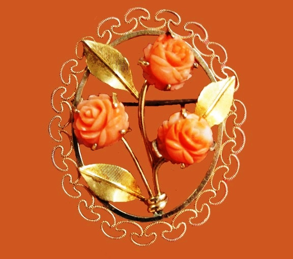 Coral roses oval brooch