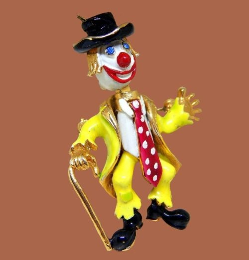 Corocraft laughing clown brooch