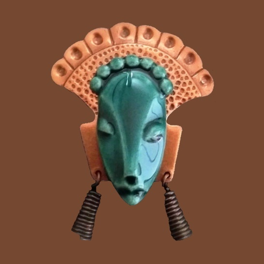 Cosmos Brooch. copper-plated copper alloy, lining - ceramics with emerald green glaze