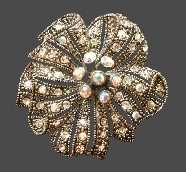 Crystal flower brooch. 1980s. Silver tone metal, Swarovski Crystals, aurora borealis crystals, rhinestones