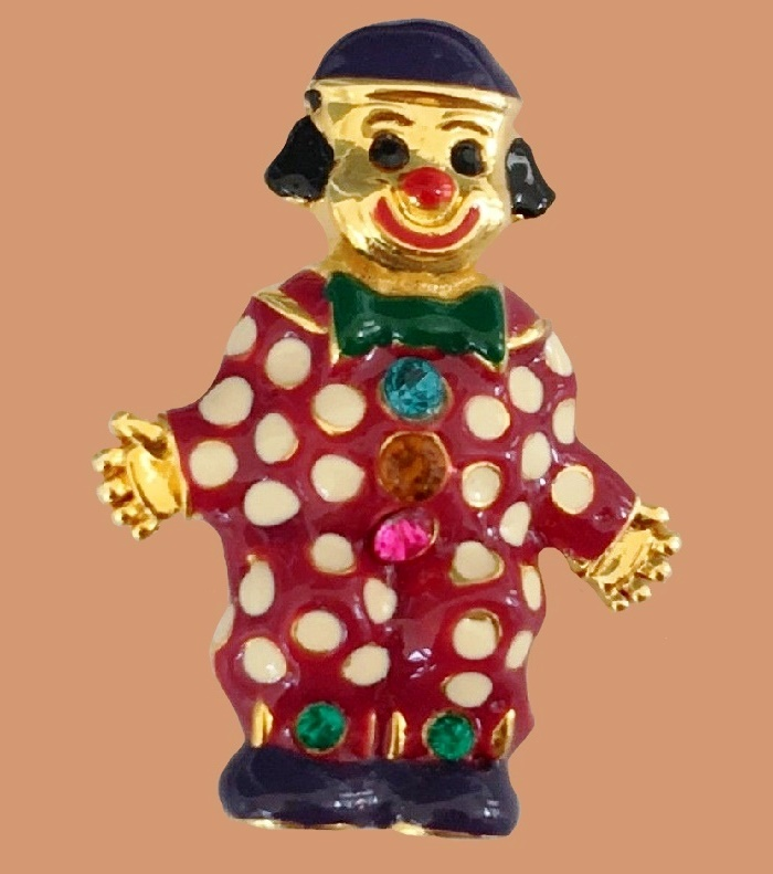 Cute clown brooch. Gold tone metal, enamel