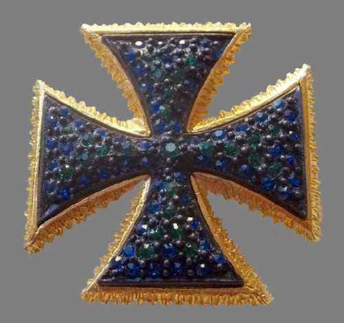 Dalsheim signed Green and blue rhinestones Maltese cross brooch