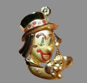 Danecraft brooch clown with a dog. Jewelry alloy, 6 cm
