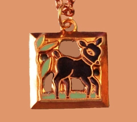 Deer Bambi, suspension. jewelry alloy, gilding, crystals