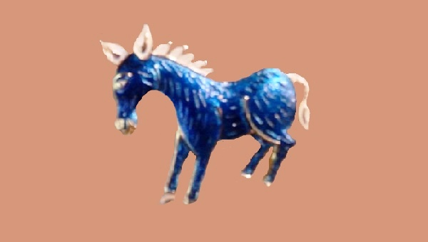 Democratic Donkey Blue brooch, enamel, gold tone metal
