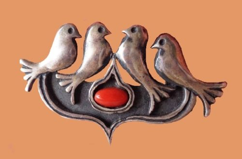 Doves brooch. Sterling silver, coral