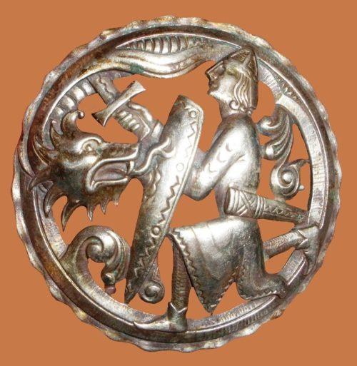 Dragon Dragestil sterling silver brooch