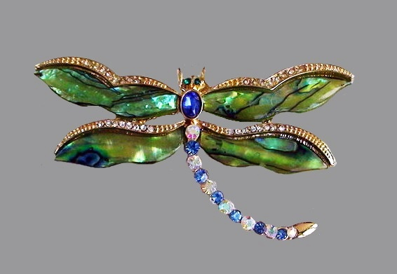 Dragonfly brooch. Faux emeralds and sapphire, rhinestones, gold tone metal