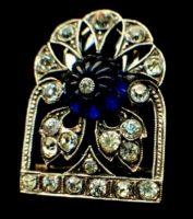 Dress, fur clip. Sterling silver, faux sapphire. Circa 1920s