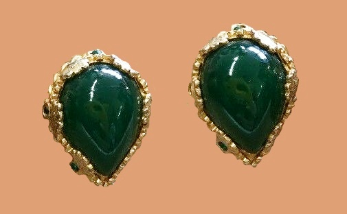 Emerald Green Cabochon Pear Shaped Clip -On Earrings