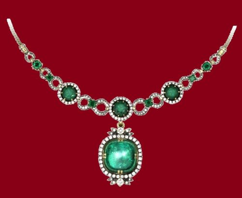 Emerald classic, necklace. Diamonds, gold, silver and emeralds