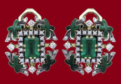 Emerald earrings. Diamonds, gold, enamel, silver and emerald