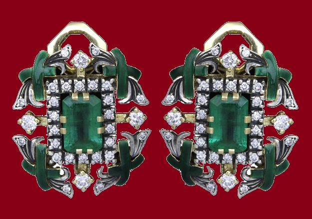 Emerald earrings. Diamonds, gold, enamel, silver and emerald