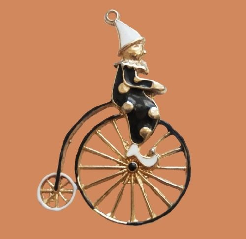 Enameled brooch clown on a bicycle. 5.5 cm