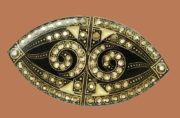 Enameled brooch. Jewelery alloy, copper plate, silvering, swarovski crystals, colored enamels. 5.9 cm x 3.2 cm