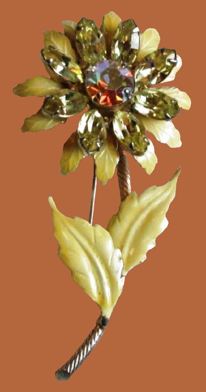 Enameled flower brooch