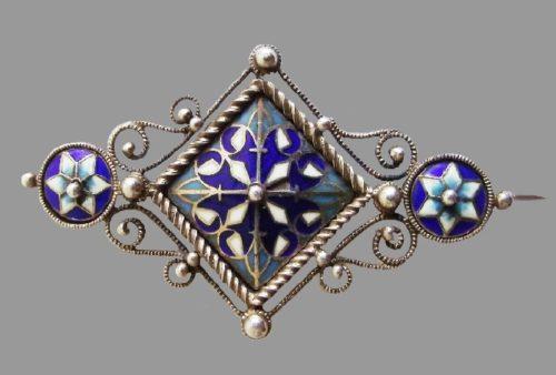 Enameled silver brooch