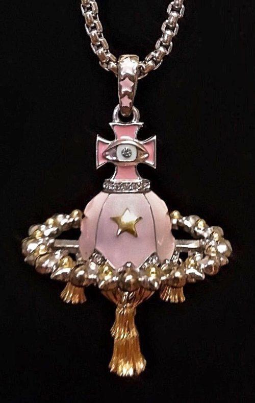 Evil Eye Orb Gold Plate Enamel Swarovski Pendant