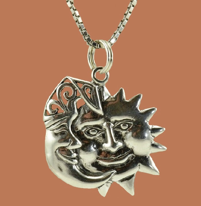 Fabulous Celestial Crescent Man in Moon pendant