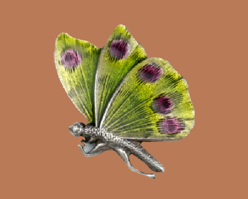 Fabulous enameled butterfly brooch